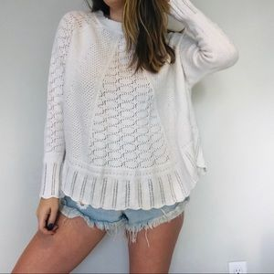 Anthro Angel of the North white knit sweater